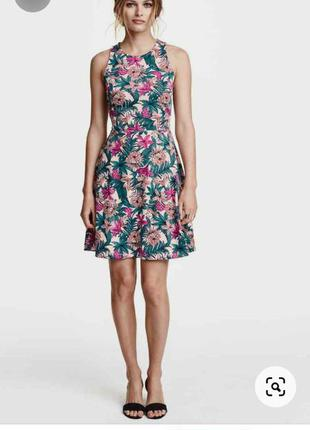 Легке літнє плаття h&m платье в принт цветочный тропический са...