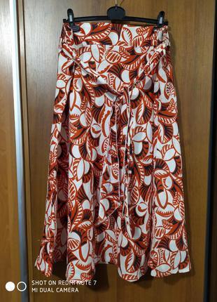 Льняная яркая юбка