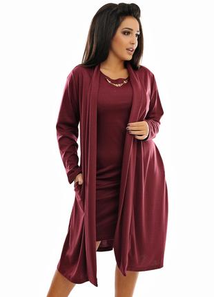 Костюм с платьем  бордо цвет 52-54р