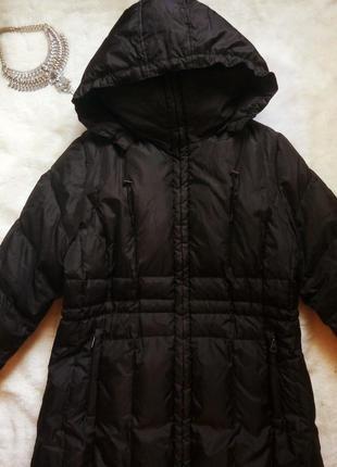 Черный длинный в пол зимний натуральный пуховик куртка пальто ...