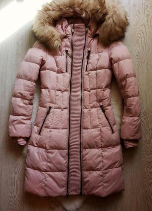 Розовый длинный натуральный зимний беременным пуховик куртка н...