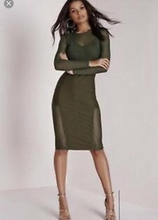 Платье миди missguided оливкового цвета
