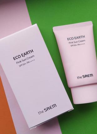 Успокаивающий крем спф the saem sun eco earth power pink sun c...