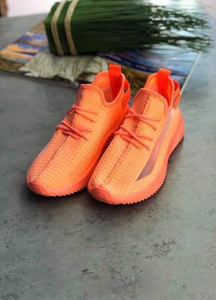 Яркие оранжевые текстильные кроссовки. летние кроссовки. 36-41
