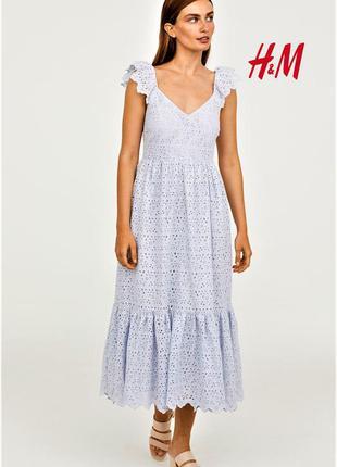 Восхитительное нежное платье миди с воланом вышивка прошва риш...