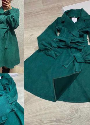 Новое зелёное платье в стиле Zara S M на запах