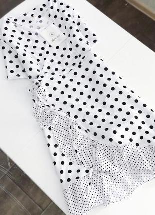 В наличии ✅ красивенное платье в горох на запах с воланами и р...