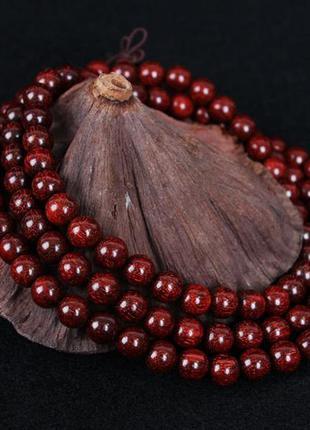 Многослойный браслет коньячный из сандалового дерева