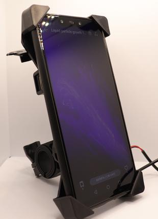 Держатель для телефона на мотоцикл с портом USB для зарядки Подро