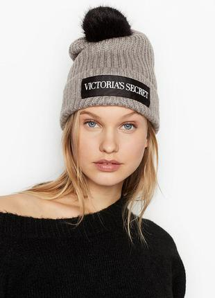 Женская теплая шапка victoria's secret зимняя с помпоном ориги...