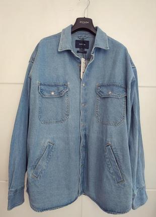 Джинсовая куртка-рубашка pull& bear свободного кроя оверсайз с...