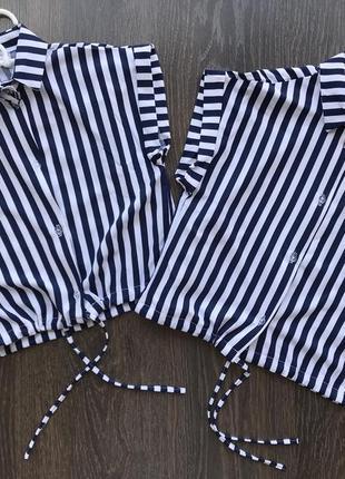 Стильный трендовый топ блузка рубашка в полоску
