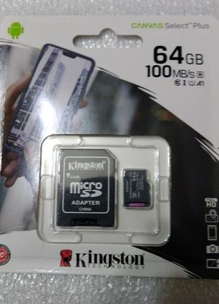 Карта памяти MicroSDXC 64GB UHS-I Class 10 Kingston Canvas Select