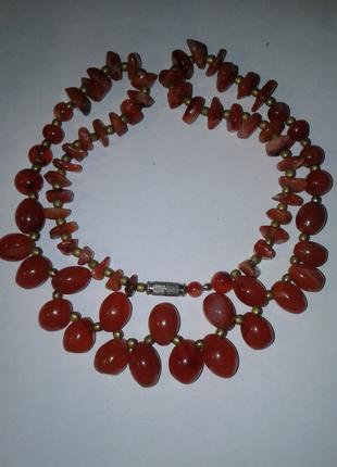 Сердоликовые бусы -ожерелье, длина 60 см
