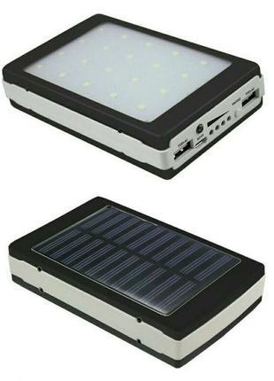 Power Bank Solar 90000 mAh + LED фонарик + солнечная панель 3 в 1