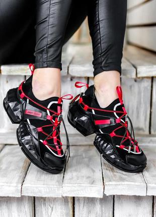 Стильные кроссовки jimmy choo diamond trail black red