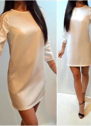 Новое белое шикарное платье с кружевом с размер