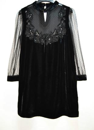 Черное бархатное платье zara