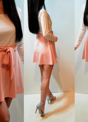 Шикарное платье,белый верх,розовый низ