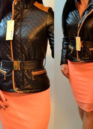 Фирменная демисезонная черная куртка  весна-осень pu-кожи