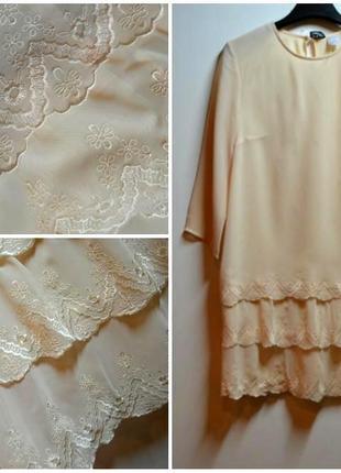 Нежная блуза в узорах с длинным рукавом