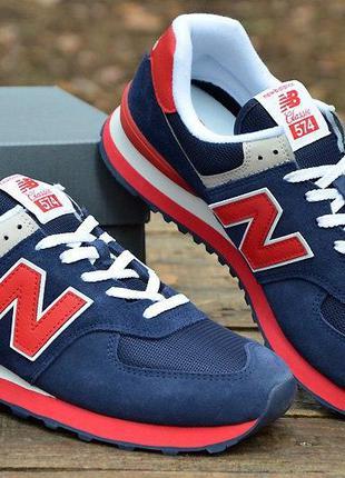 Оригинал new balance! кроссовки синие с красным 574 ml574mua н...