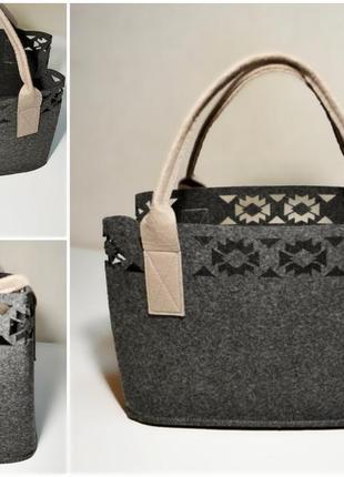Практичная стильная объемная сумка с перфорацией,сумка-шоппер ...