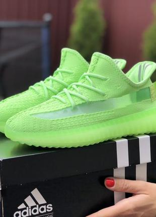 Крутые женские кроссовки adidas yeezy boost 350 v2 салатовые, ...