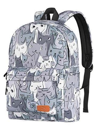 Компактный, городской рюкзак с принтом коты