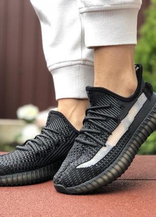 Крутые женские кроссовки adidas yeezy boost 350 v2 чёрные, суп...