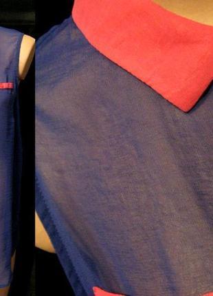 Стильная блуза с розовым воротничком