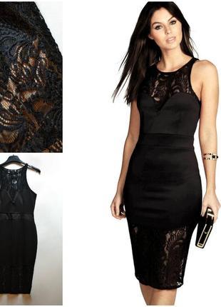 Новое черное элегантное миди платье с кружевом boohoo