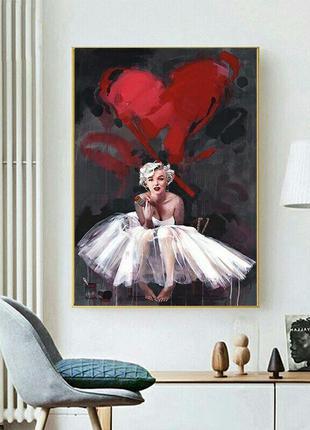 Картина с мэрилин монро плакат на стену декор стен на холсте 2...