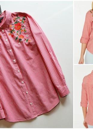 Стильная красная рубашка в полоску с вышивкой цветы хлопок