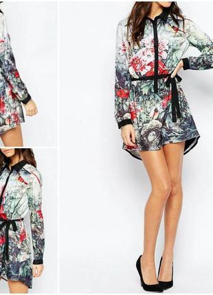 Оригинальное платье рубашка в цветочный принт