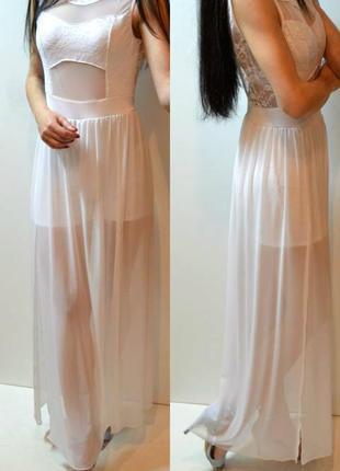 Длинное шикарное белое платье
