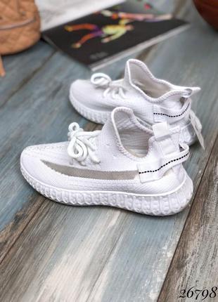 Классные белые кроссовки текстиль