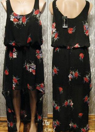Длинное шифоновое платье в цветы