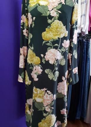 Платье миди в цветочный принт h&m p.m