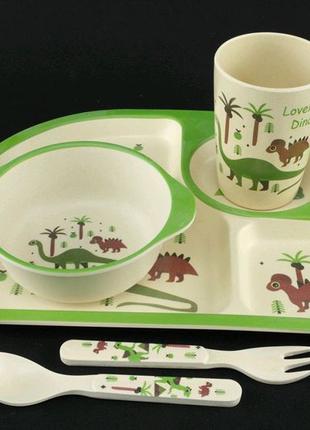 Набори посуды из бамбукового волокна. Динозавры.