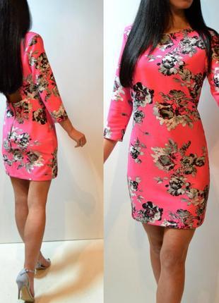 Скидка! шикарное розовое платье в цветах asos новое