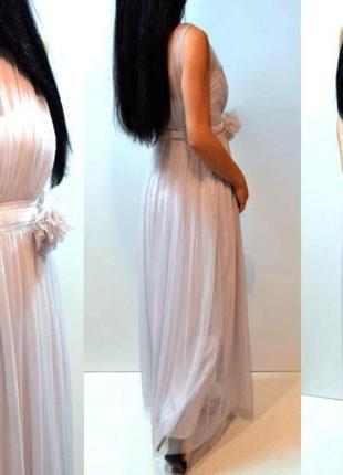Шикарное лиловое длинное платье