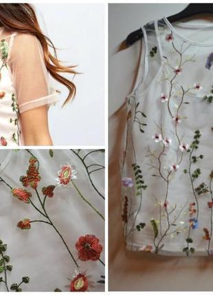 Белая блуза сетка с вышивкой цветы