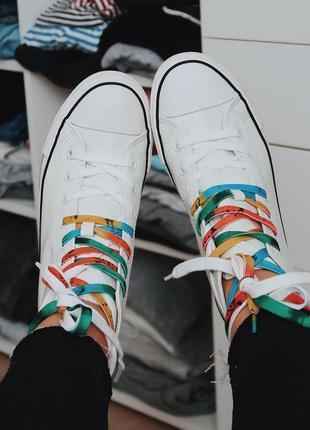 Натуральная кожа белые высокие кеды, кроссовки c 2 парами шнур...