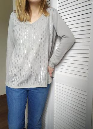 Пуловер реглан лонгслив джемпер свитер кофта с паетками