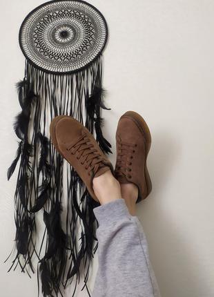 Кожаные женские замшевые кеды коричневые кроссовки мокасины ню...