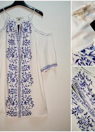 Свободное белое платье с вышивкой вискоза