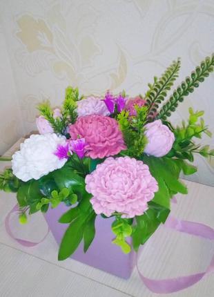 Букет / цветочная композиция / мыло ручной работы / мыльные пионы