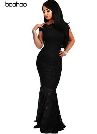 Черное шикарное платье фасона русалка boohoo