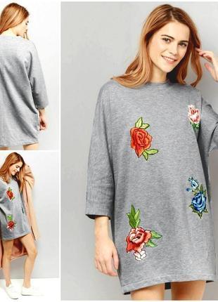 Стильное теплое оверсайз платье свитшот cameo rose